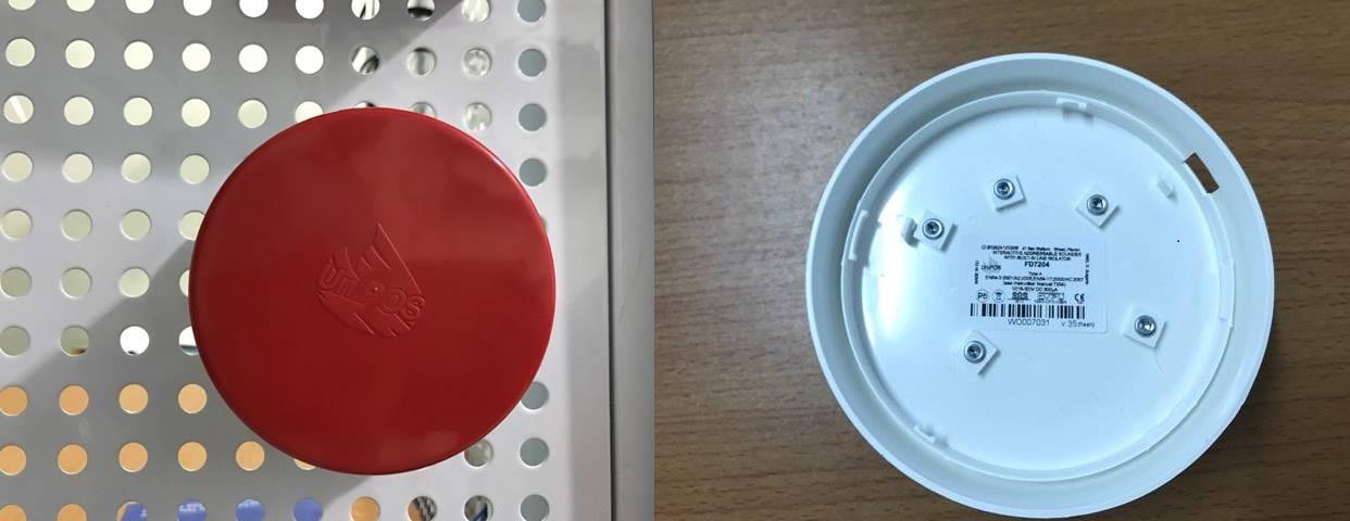 Mặt trước và sau còi đèn báo cháy FD7204
