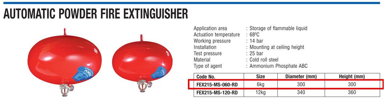 bình cầu chữa cháy SRI FEX215-MS-060-RD